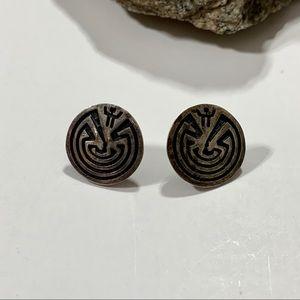 Sterling Silver Navaho Man in the Maze Earrings